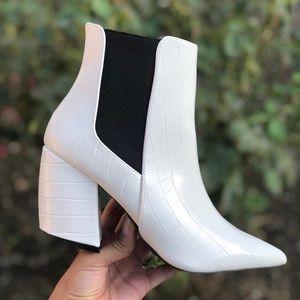Vegan White Crocodile Textured Heeled Ankle Boots